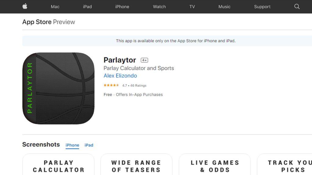 Parlaytor 2 Lite App Parlay Calculator
