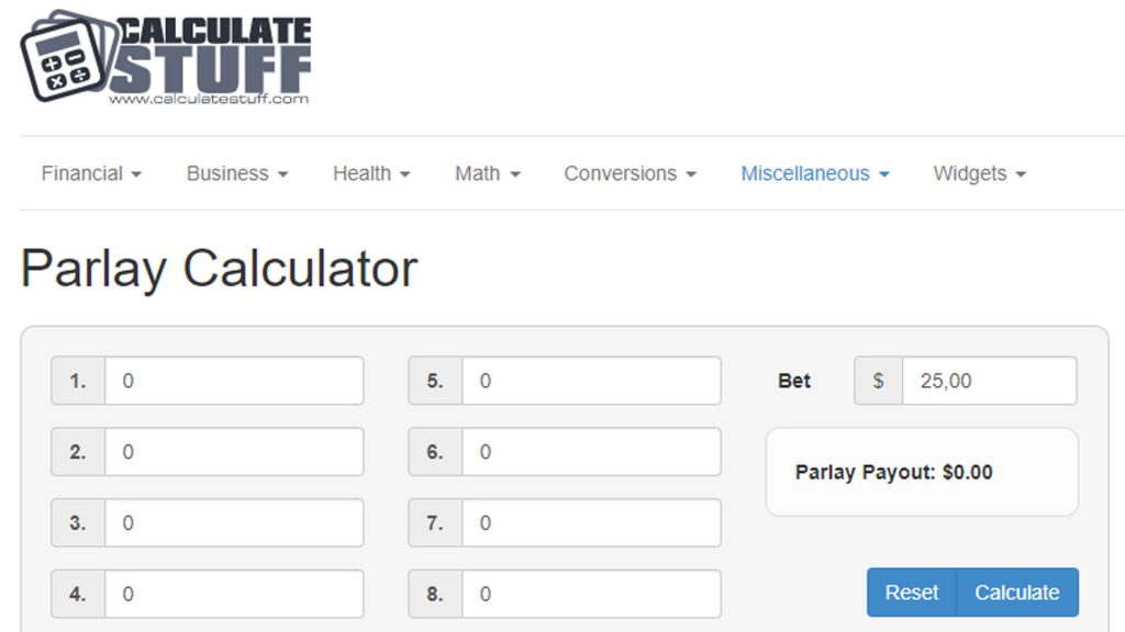 Parlay Calculator di Stuff